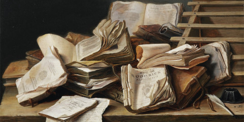 painting of books
