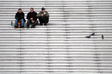 people on steps